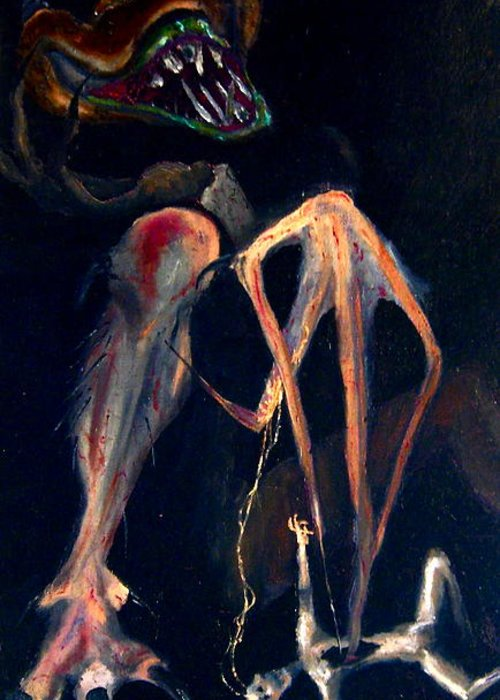 Expressionism Greeting Card featuring the painting The Feeding by Chris Haugen