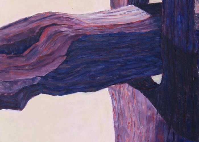 A Monochromatic Study Of A Wooden Fencepost Greeting Card featuring the painting The Fencepost by Judith Espinoza