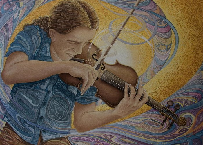 Musician Greeting Card featuring the painting The Fiddler by Caleb Hamm
