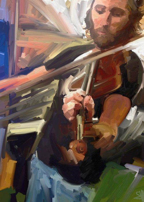Art Greeting Card featuring the digital art The Fiddler by Scott Waters