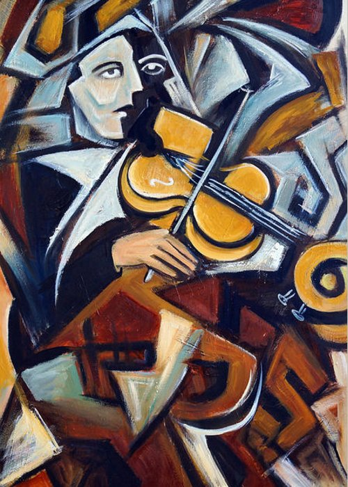 Musician Greeting Card featuring the painting The Fiddler by Valerie Vescovi
