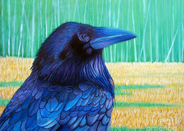 Raven Greeting Card featuring the painting The Field Of Dreams by Brian Commerford
