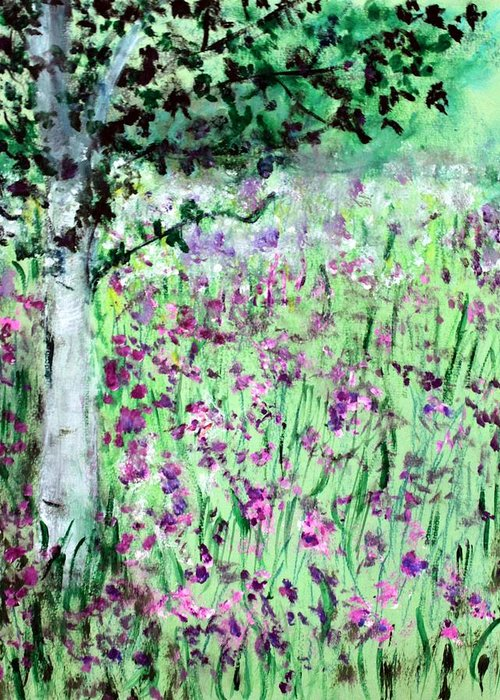 Landscape Greeting Card featuring the painting The Fields by Michela Akers