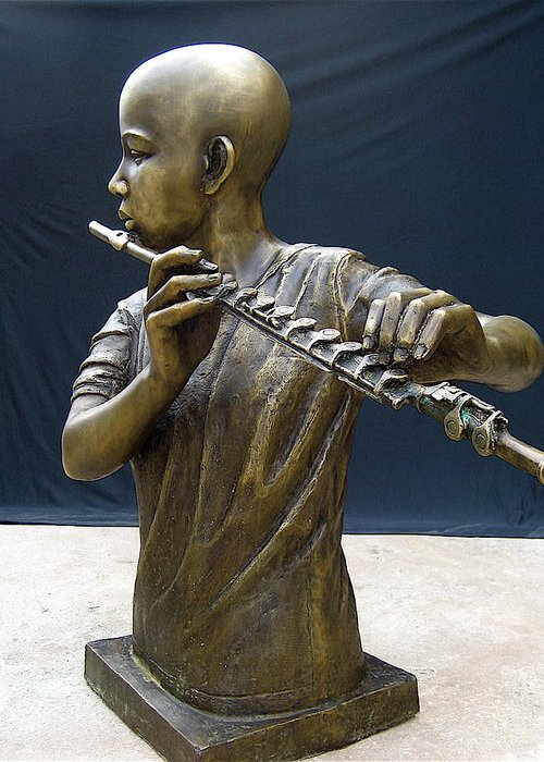Music Greeting Card featuring the sculpture The Fifer by Curtis James
