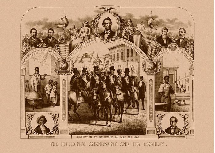 Black History Greeting Card featuring the mixed media The Fifteenth Amendment And Its Results by War Is Hell Store