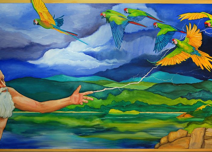 God Greeting Card featuring the painting The Fifth Day by Robert Lacy