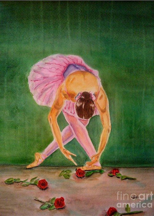 Dancer Greeting Card featuring the painting The Finale by Bonnie Schallermeir