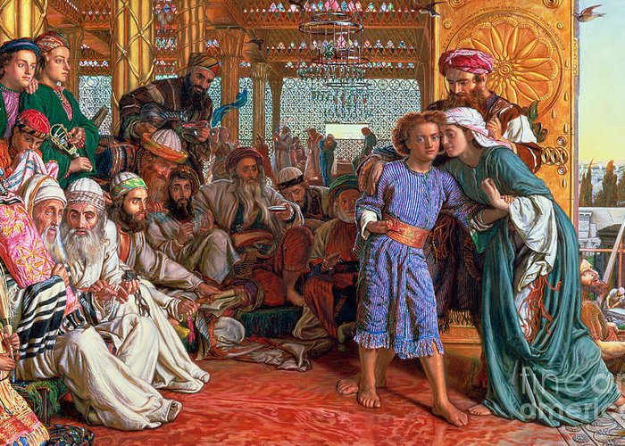 Pre-raphaelite; Passover; Jewish; Elders; Jews; Jesus Christ; Boy; Child; Old Men; Elderly; Elder; And The Lord Greeting Card featuring the painting The Finding Of The Savior In The Temple by William Holman Hunt
