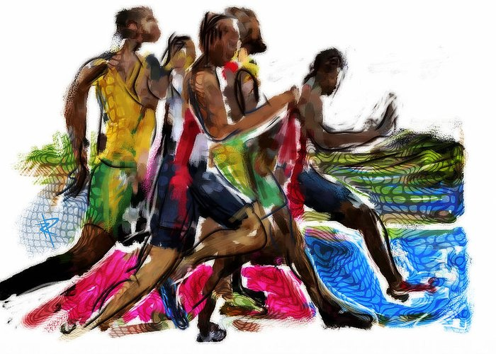Runner Greeting Card featuring the mixed media The Finish Line by Russell Pierce