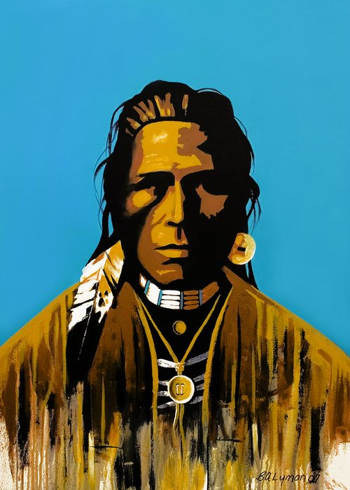 American Indian Portraiture Greeting Card featuring the painting The First American by Brooke Lyman