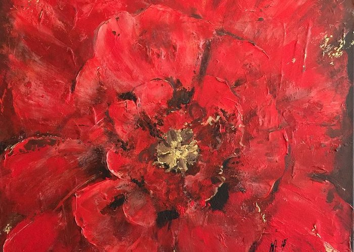 Floral Greeting Card featuring the painting The First Red Poppie. by Melanie Stanton