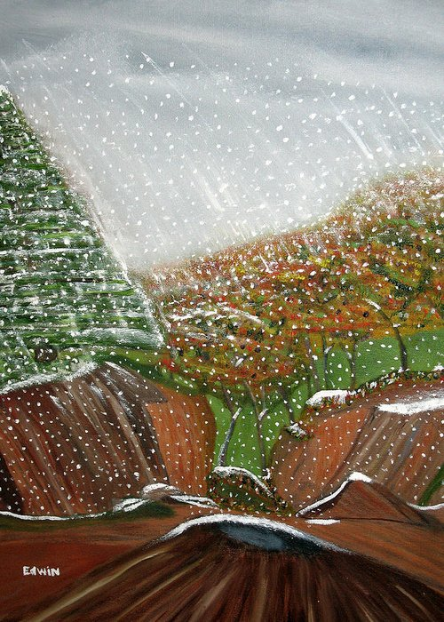 Snow Greeting Card featuring the painting The First Snow by Edwin Long