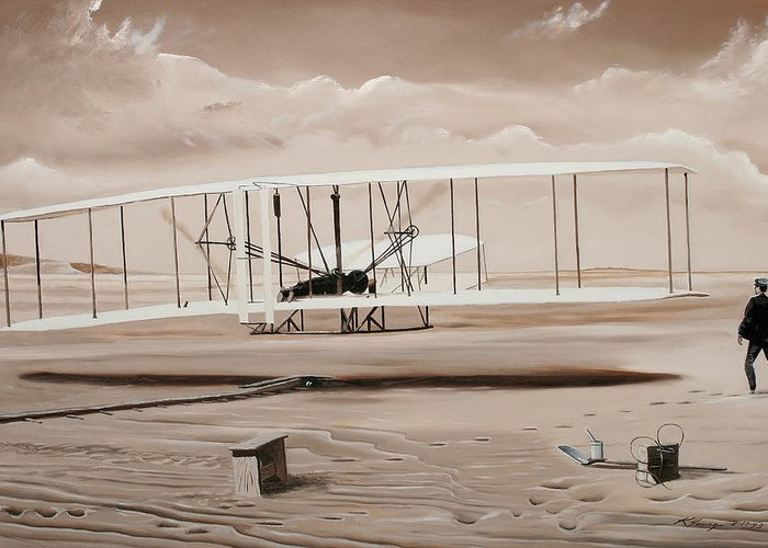 Aircraft Art Greeting Card featuring the painting The First To Fly by Kenneth Young