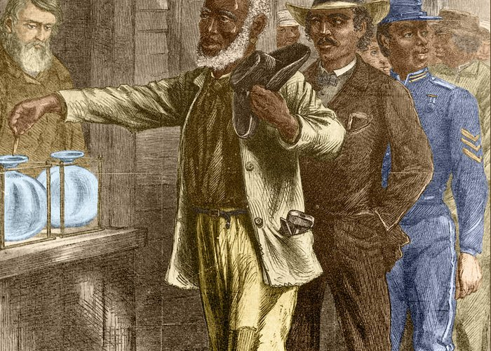 15th Amendment Greeting Card featuring the photograph The First Vote 1867 by Photo Researchers