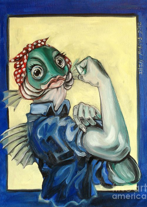 Satire Greeting Card featuring the painting The Fishes Can Do It by Ellen Marcus