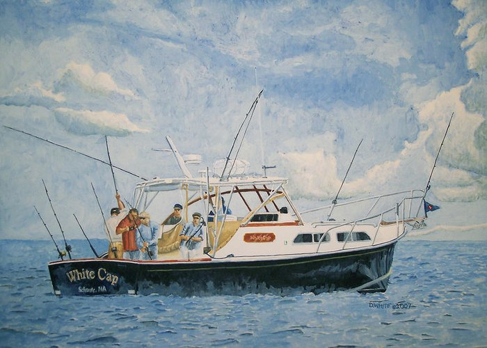 Fishing Greeting Card featuring the painting The Fishing Charter - Cape Cod Bay by Dominic White