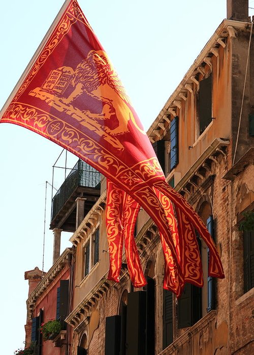 Venice Greeting Card featuring the photograph The Flag Of Venice by Michael Henderson