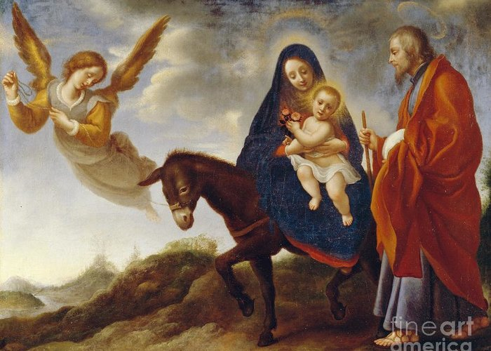 Flight Greeting Card featuring the painting The Flight Into Egypt by Carlo Dolci