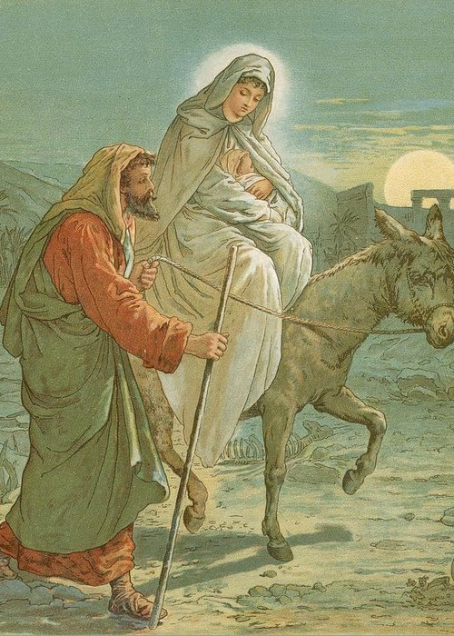Bible; The Flight Into Egypt; Donkey; Jesus Christ; Baby; Joseph; Virgin Mary; Night; Desert Greeting Card featuring the painting The Flight Into Egypt by John Lawson