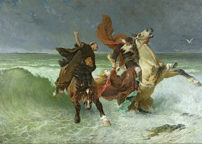 The Greeting Card featuring the painting The Flight Of Gradlon Mawr by Evariste Vital Luminais