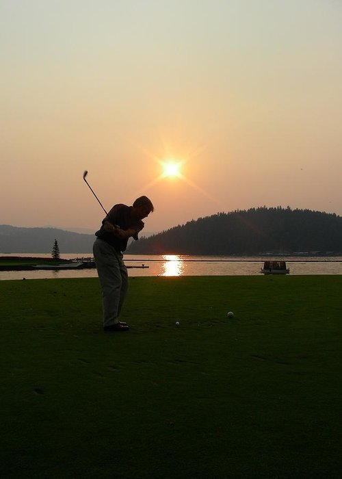 Golf Greeting Card featuring the photograph The Floating Green by Peter McIntosh