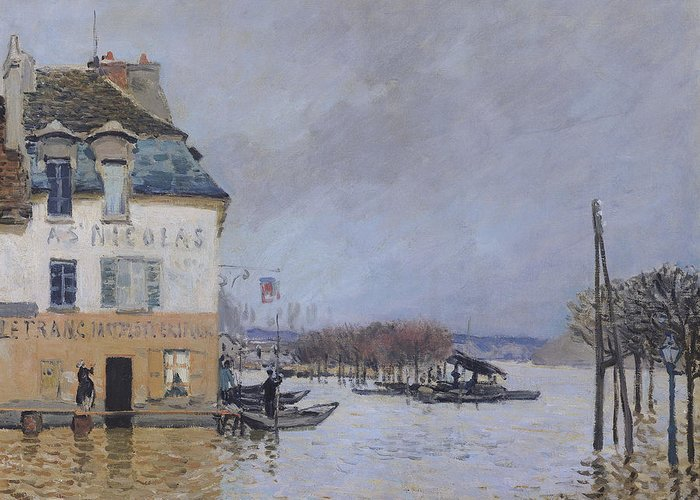 The Flood At Port-marly Greeting Card featuring the painting The Flood At Port Marly by Alfred Sisley
