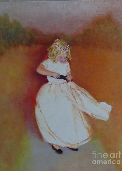 Contemporary Portrait Greeting Card featuring the painting The Flower Girl Copyrighted by Kathleen Hoekstra