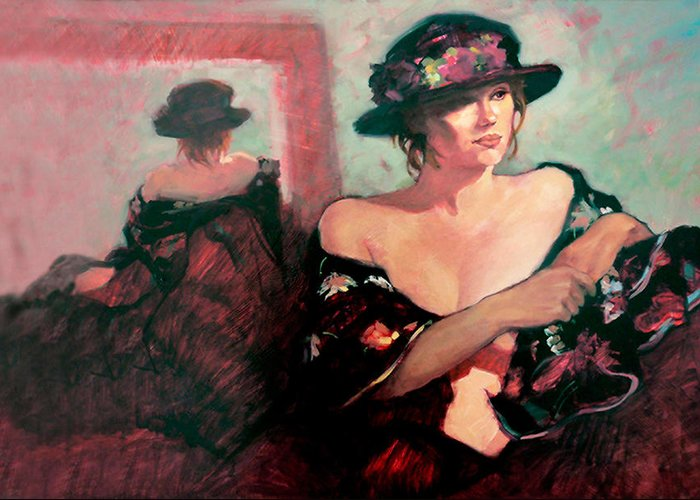 Oil Paintings Greeting Card featuring the painting The Flower Hat by Roz McQuillan