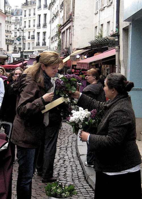 Flower Seller Greeting Card featuring the photograph The Flower Seller by Lori Secouler-Beaudry