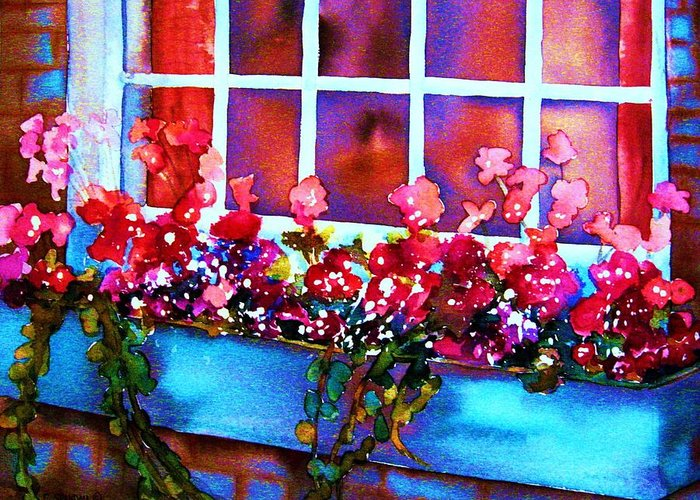 Flowerbox Greeting Card featuring the painting The Flowerbox by Carole Spandau