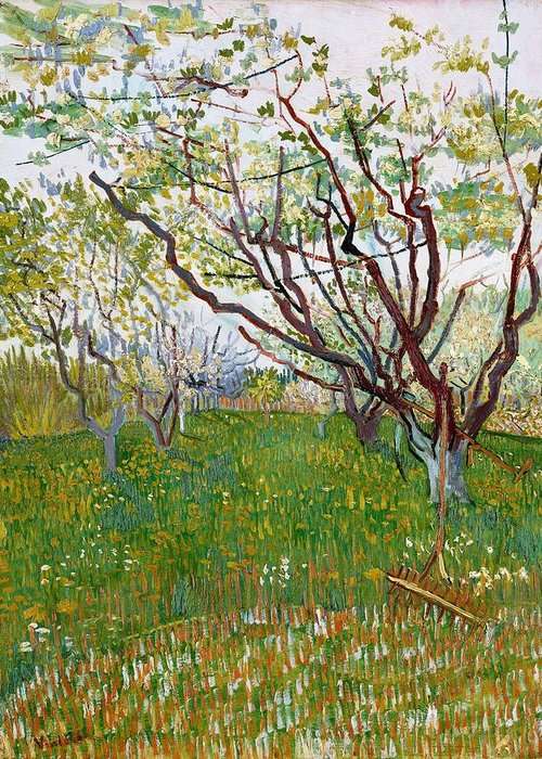 Nature Greeting Card featuring the painting The Flowering Orchard by Artistic Panda