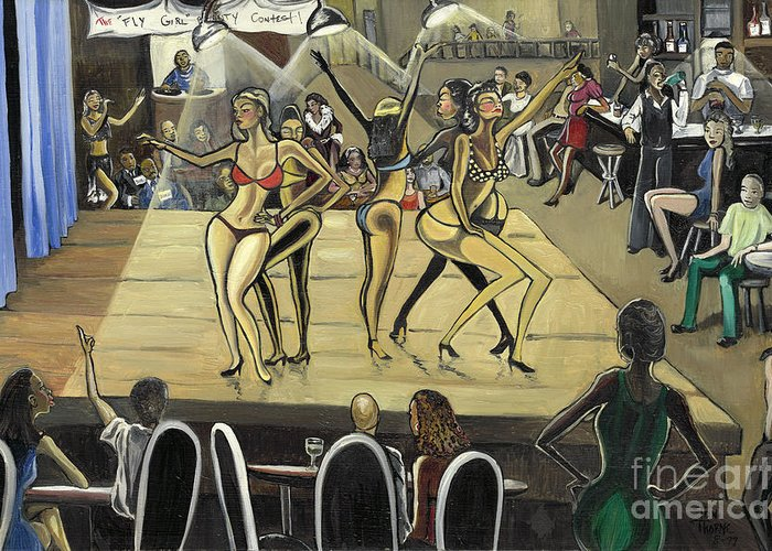 Caricature Greeting Card featuring the painting The Fly Girl Beauty Contest by Toni Thorne