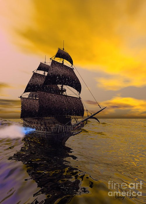 The Flying Dutchman Greeting Card featuring the painting The Flying Dutchman by Corey Ford