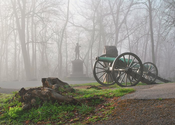Civil War Greeting Card featuring the photograph The Fog Of War. by Jen Goellnitz