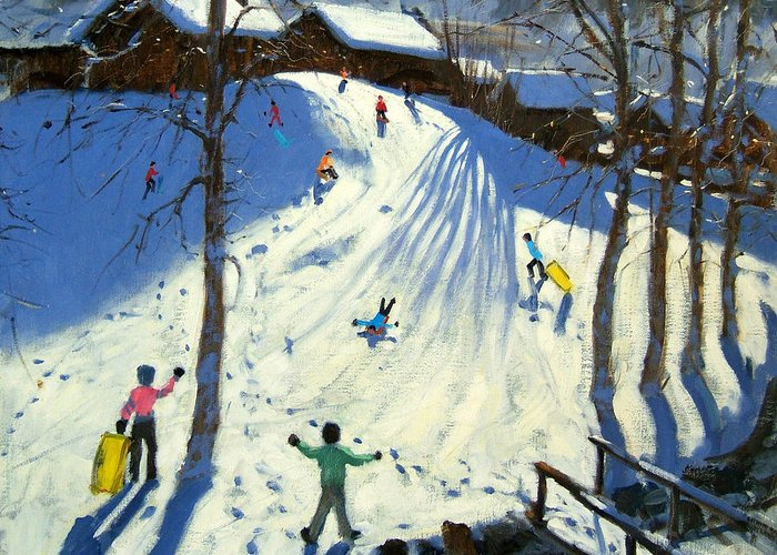 Sledging Greeting Card featuring the painting The Footbridge by Andrew Macara