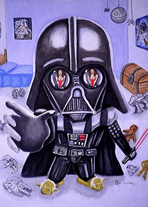 Star Wars Greeting Card featuring the painting The Force Is Strong With This One by Al Molina