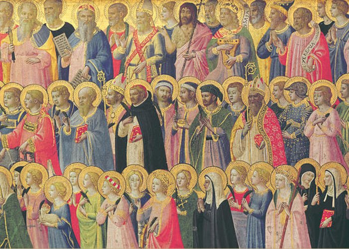 Fra Greeting Card featuring the painting The Forerunners Of Christ With Saints And Martyrs by Fra Angelico