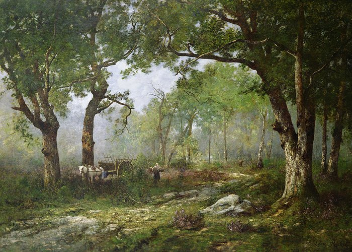 The Forest Of Fontainebleau Greeting Card featuring the painting The Forest Of Fontainebleau by Leon Richet