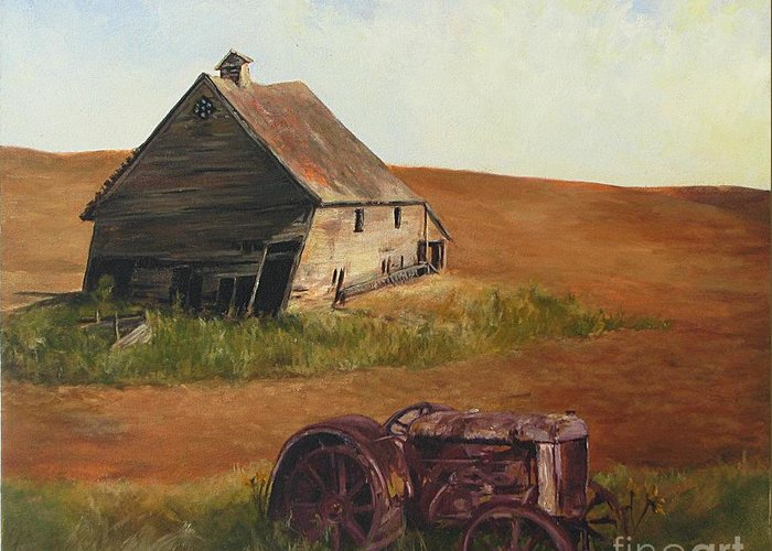 Oil Paintings Greeting Card featuring the painting The Forgotten Farm by Chris Neil Smith