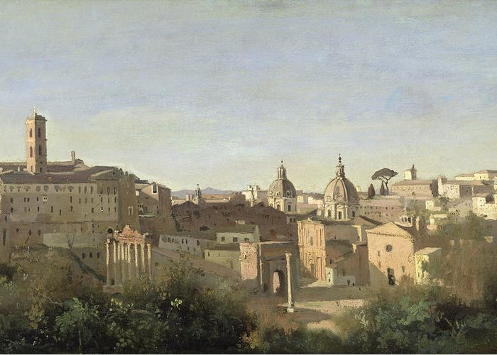 Forum Greeting Card featuring the painting The Forum Seen From The Farnese Gardens by Jean Baptiste Camille Corot