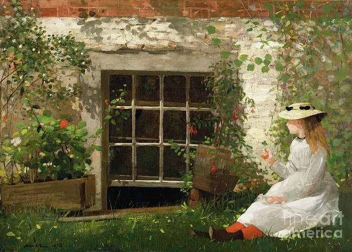 The Greeting Card featuring the painting The Four Leaf Clover by Winslow Homer