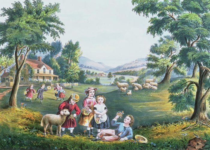 Print; Children; Sheep; Spring; American Dream Greeting Card featuring the painting The Four Seasons Of Life Childhood by Currier and Ives