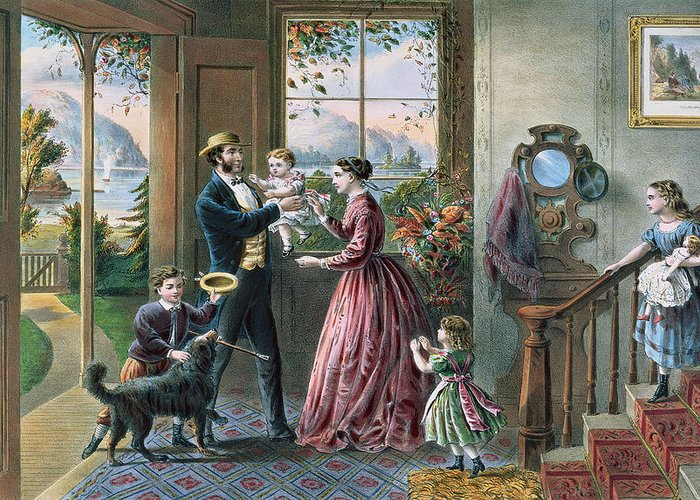 The Four Seasons Of Life: Middle Age Greeting Card featuring the painting The Four Seasons Of Life Middle Age by Currier and Ives