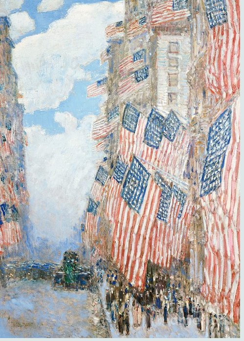 N Greeting Card featuring the painting The Fourth Of July by Childe Hassam