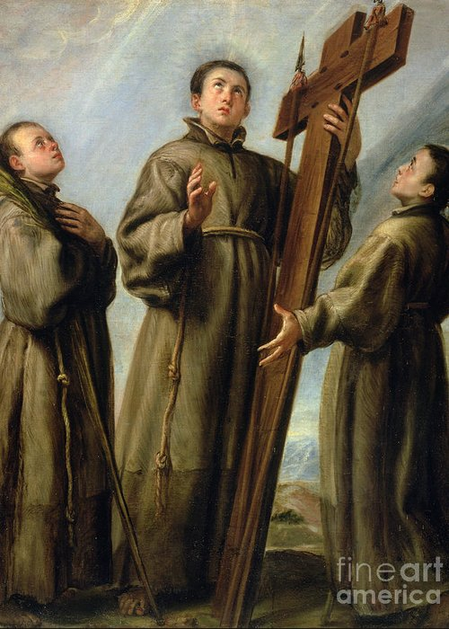 The Greeting Card featuring the painting The Franciscan Martyrs In Japan by Don Juan Carreno de Miranda