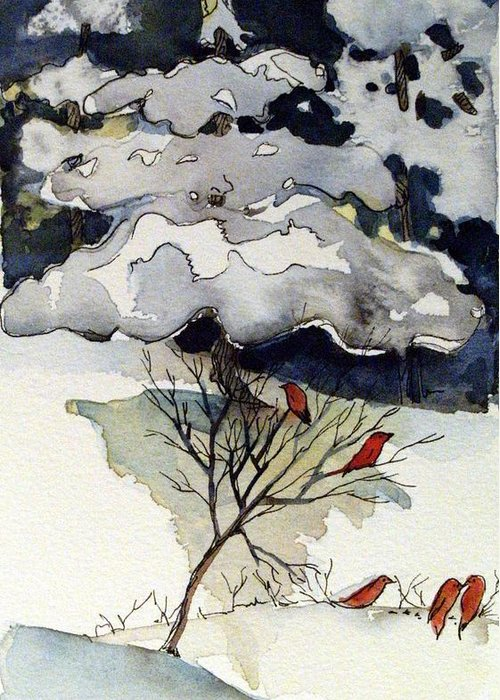 Winter Greeting Card featuring the drawing The Friendly Pine Tree Watches by Mindy Newman