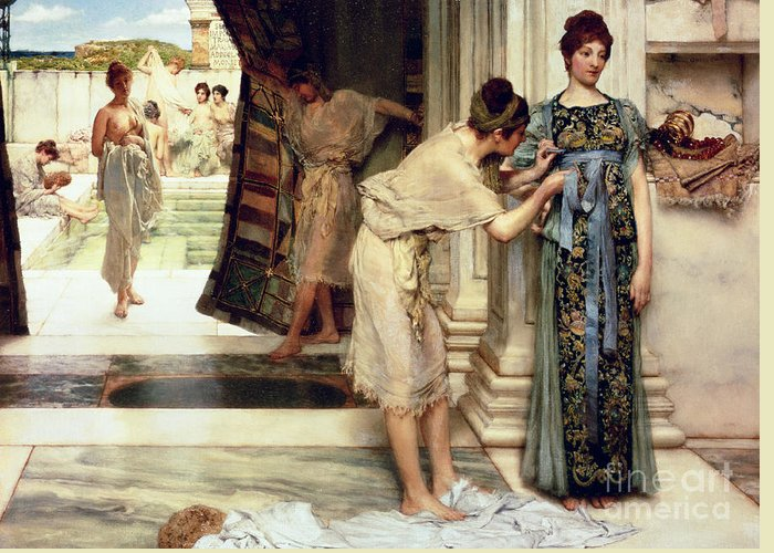 The Greeting Card featuring the painting The Frigidarium by Sir Lawrence Alma-Tadema