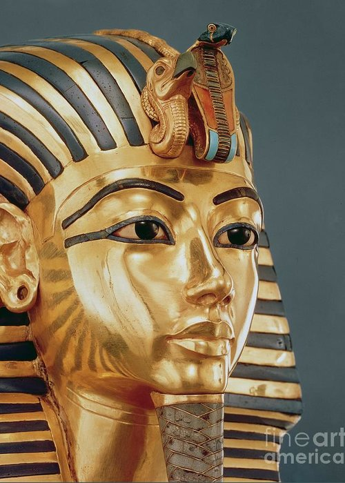 Tut Greeting Card featuring the sculpture The Funerary Mask Of Tutankhamun by Unknown