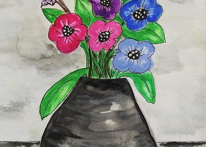 Fantasy Flowers In Black Vase Greeting Card featuring the painting The Gabbi Flowers by Marsha Heiken