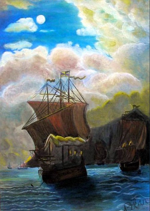Galleon Greeting Card featuring the painting The Galleon by Pilar Martinez-Byrne